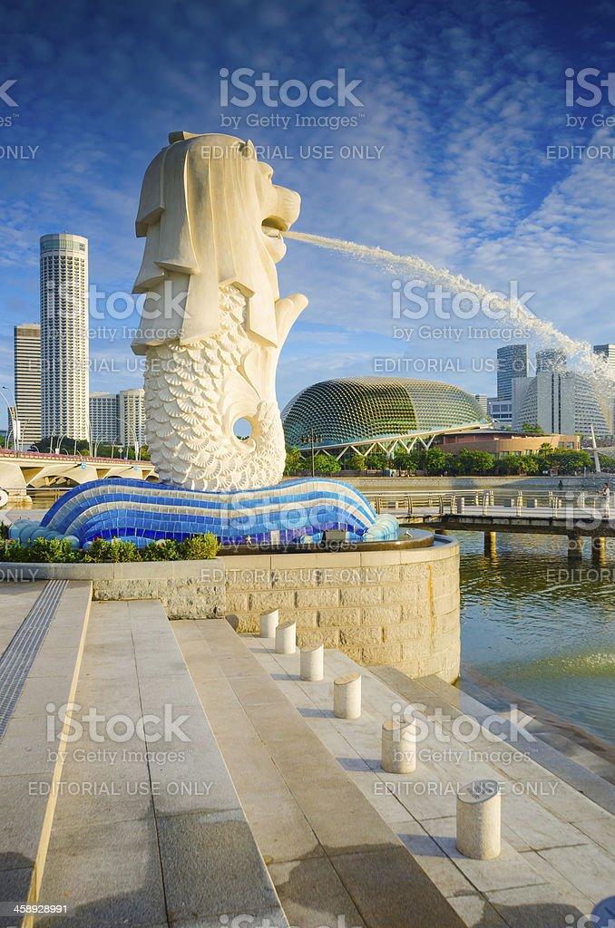 Beautiful Morning Sunshine in Merlion Park Singapore royalty-free stock photo