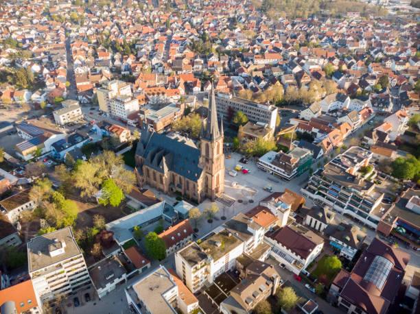 Schöner Morgenblick auf den zentralen Teil von Viernheim. – Foto