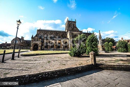 istock Beautiful Morning View Of Sherborne Abbey Courtyard, UK 1297431234