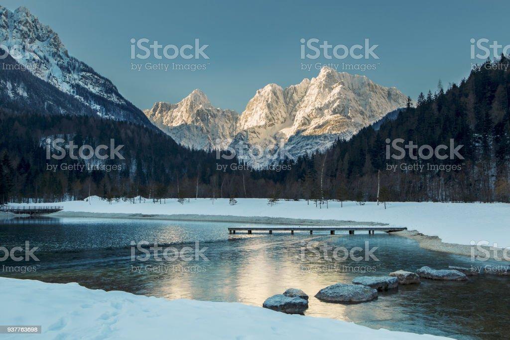 Schönen Guten Morgen Blick Auf Den Zugefrorenen See Jasna Im