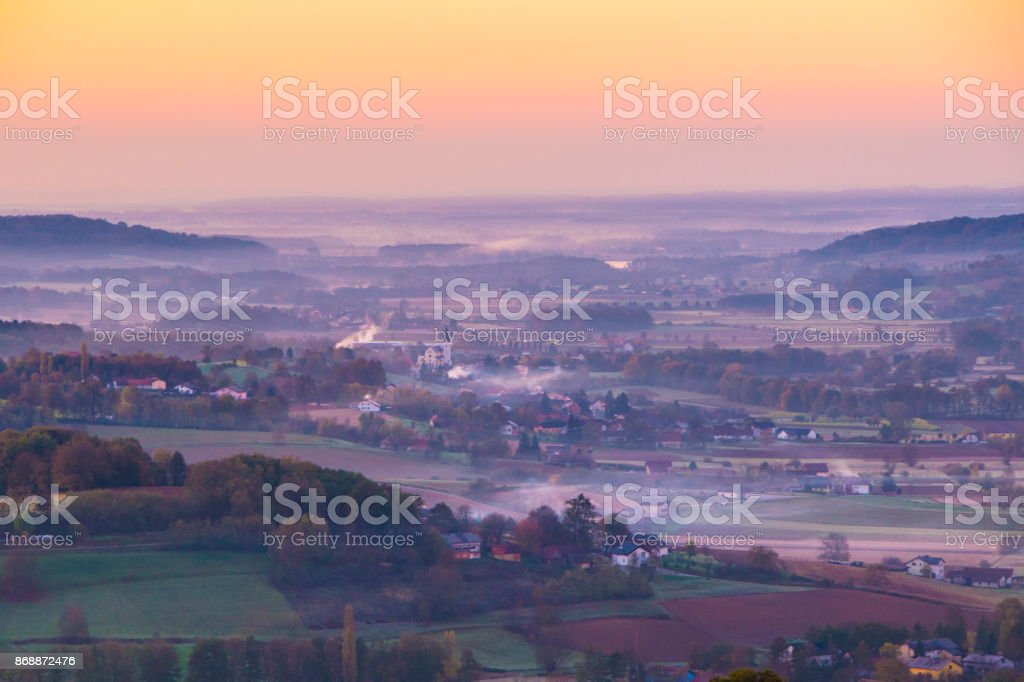 Beautiful morning view on the village in hills stock photo