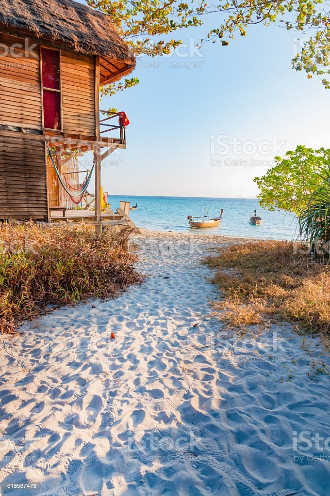 Beautiful morning with a walking paths to the beach stock photo