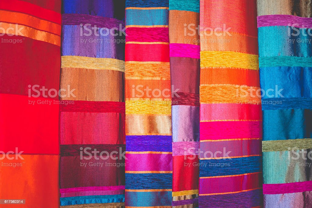 Beautiful Moroccan Fabric at Street Market, Marrakesh, Africa stock photo