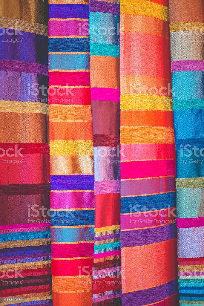 Beautiful Moroccan Fabric at Street Market, Marrakesh, Africa stock photo