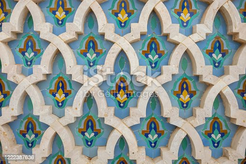Close up shot of beautiful Moroccan wall tiles design background