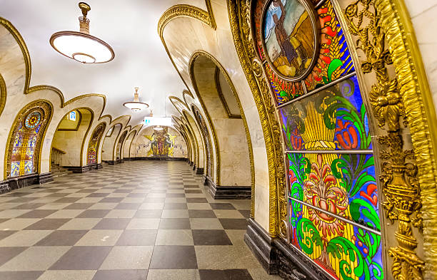 Beautiful Moscow Metro station Novoslobodskaya is a Moscow Metro station in the Tverskoy District, Central Administrative Okrug, Moscow. moscow russia stock pictures, royalty-free photos & images