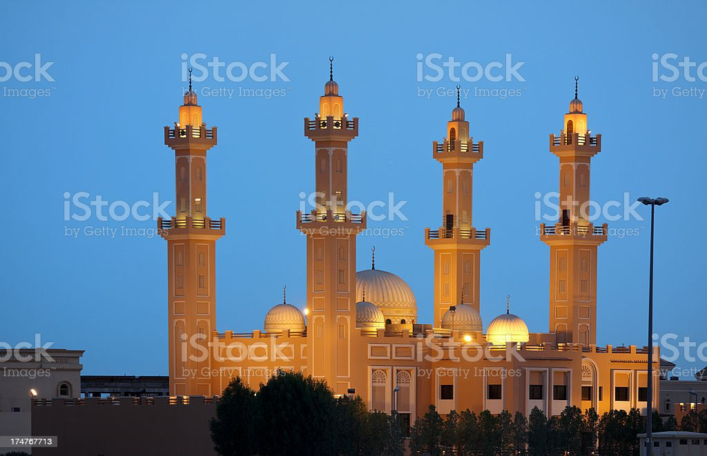 beautiful mosque on blue sky stock photo