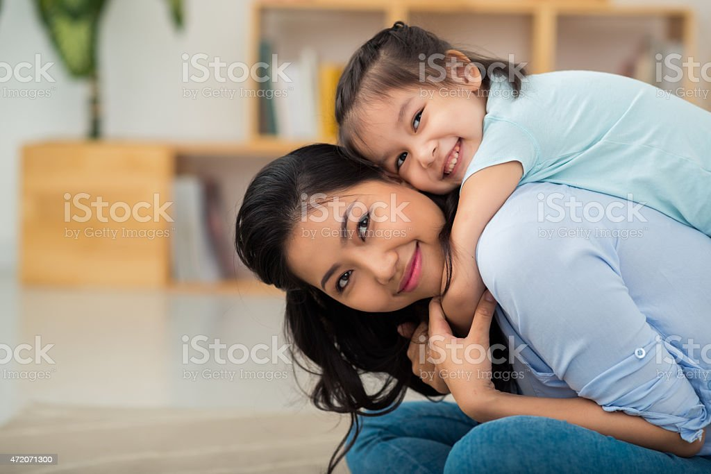 Beautiful mother and her kid stock photo