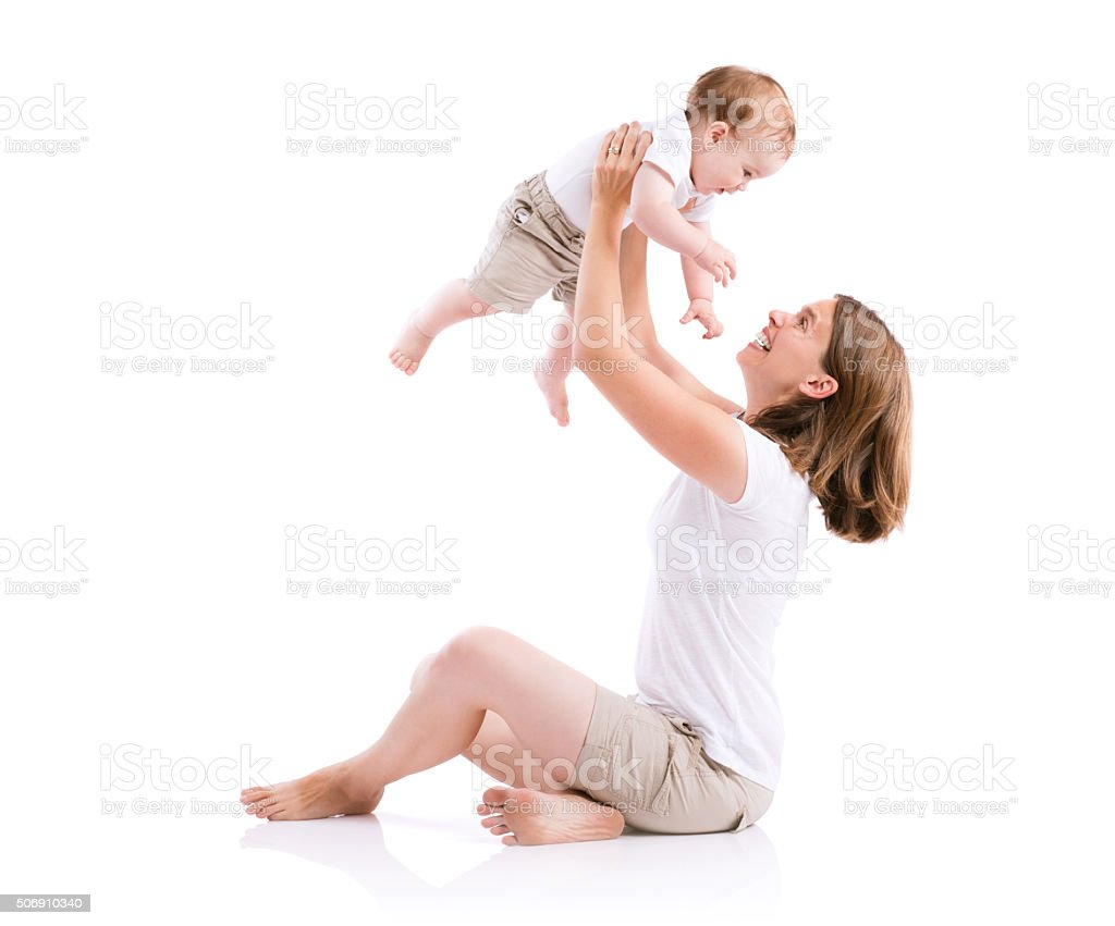 Beautiful mother and son stock photo