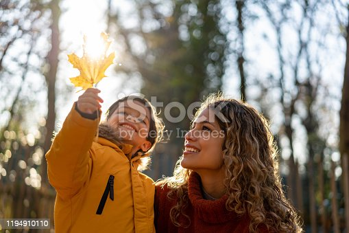 Beautiful mother looking at a leaf her son is holding on a sunny autumn day at the park - Lifestyles
