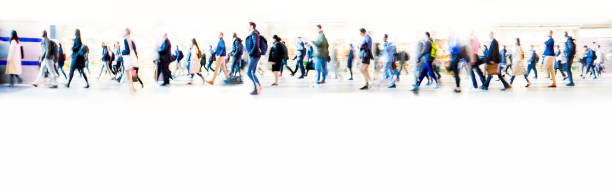 beautiful motion blur of walking people in train station. early morning rush hours, busy modern life concept. - city walking background foto e immagini stock