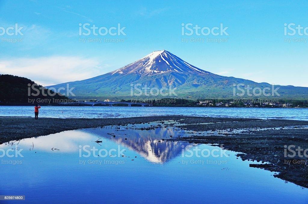 Beautiful Mount Fuji and Kawaguchiko lake stock photo