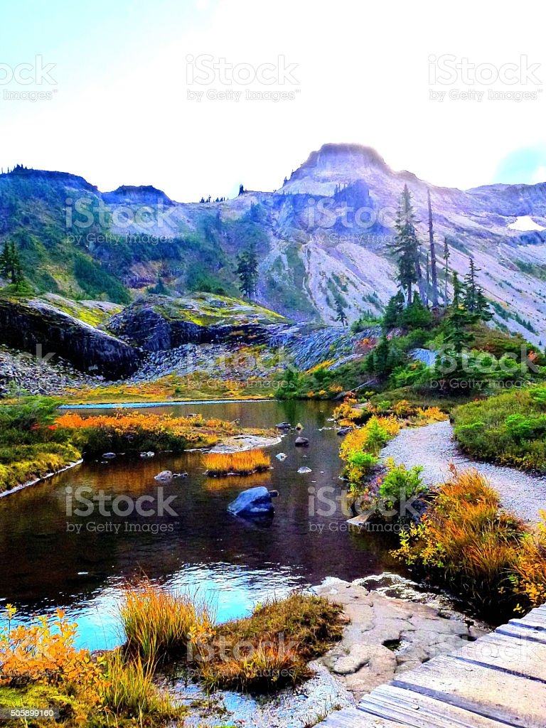 Beautiful Mountain Baker in Autumn, WA stock photo