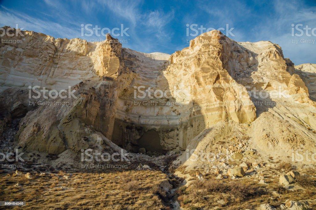 Beautiful mountain canyon in the desert. Boszhira in Ustyurt plateau, Kazakhstan stock photo