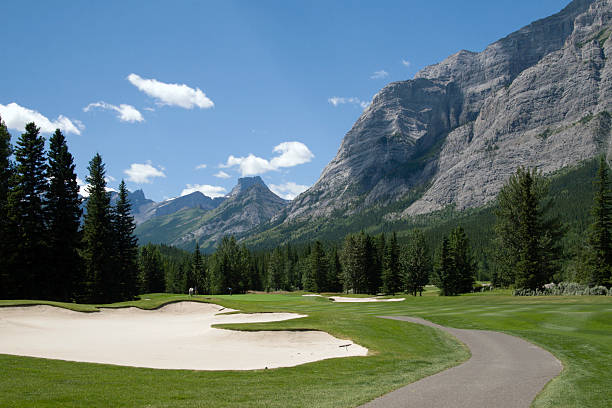 """Beautiful Mountain Golf """"Mount Lorette Golf Course, Kananaskis Country, Alberta, Canada.......If you like this image you may want to look at other GOLF Images of mine :"""" kananaskis country stock pictures, royalty-free photos & images"""
