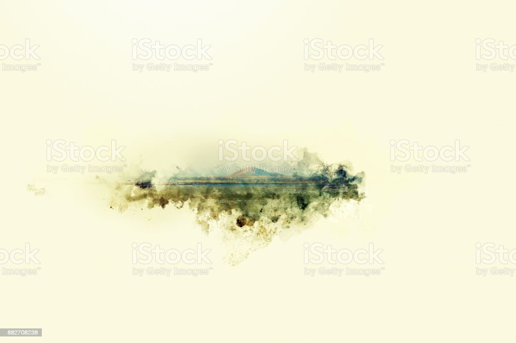 Beautiful mountain hill foreground watercolor painting background. stock photo