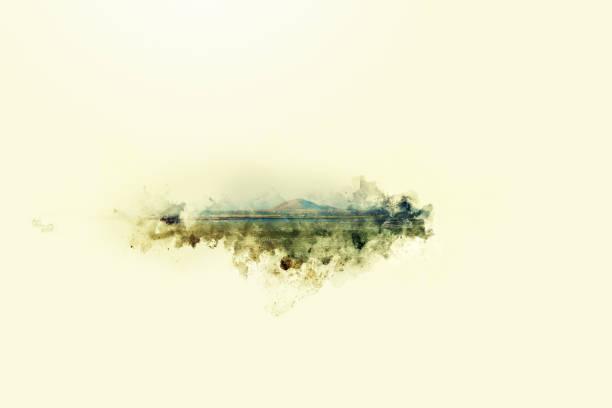 schöne hügel vordergrund aquarellmalerei gebirgshintergrund. - waldmalerei stock-fotos und bilder