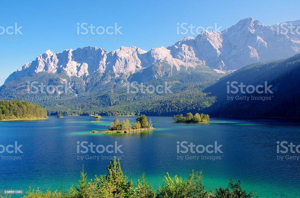 Beautiful mountain lake Eibsee in german Alps stock photo