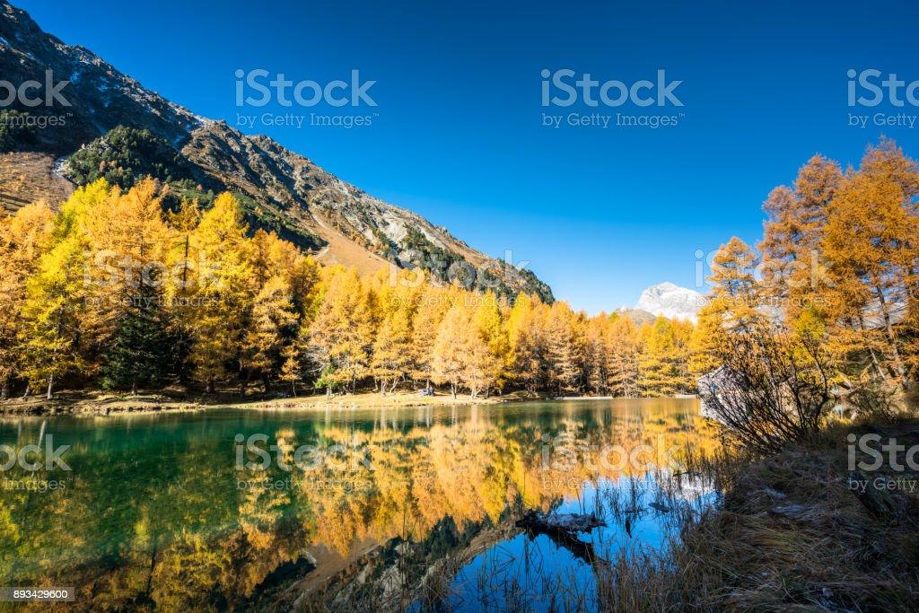 beautiful mountain lake in the Swiss Alps in late autumn stock photo
