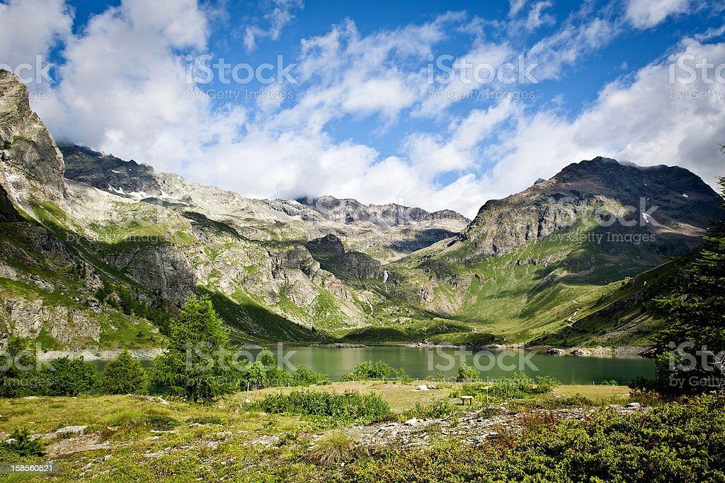 Beautiful Mountain Lake Scenery with Blue Sky stock photo