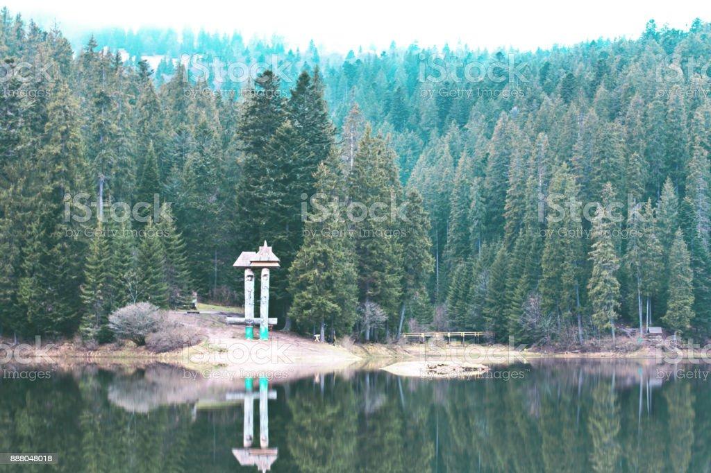 A beautiful mountain lake. The lake in the Carpathians. Lake Synevyr. stock photo
