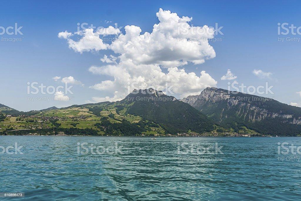 Beautiful mountain, Lake Thun, Switzerland stock photo