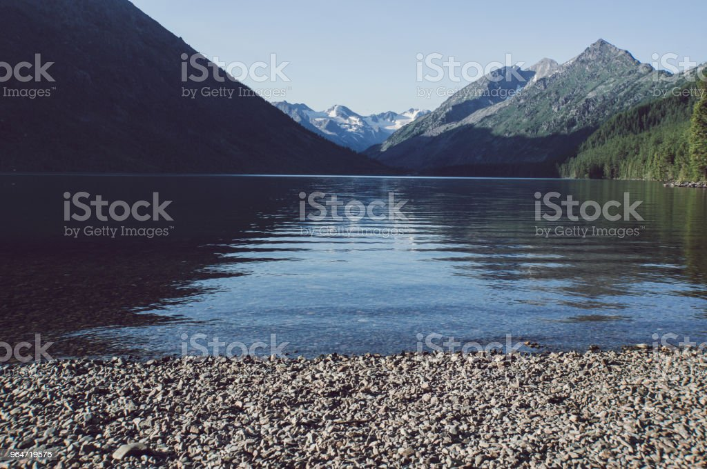 Beautiful mountain lake with turquoise Multinskoe royalty-free stock photo