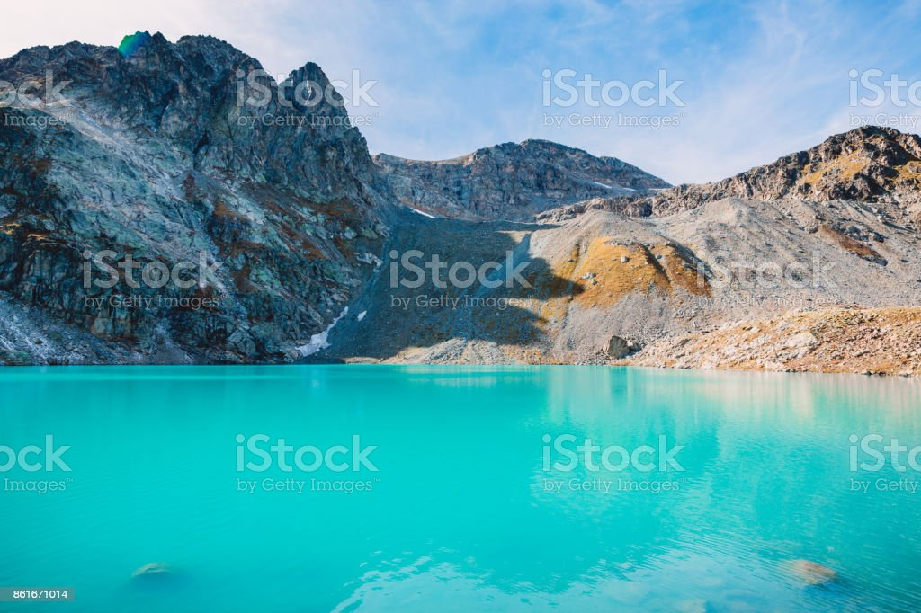 Beautiful mountain lake with turquoise water stock photo