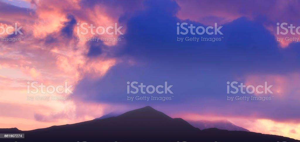 Beautiful mountain landscape at dusk stock photo