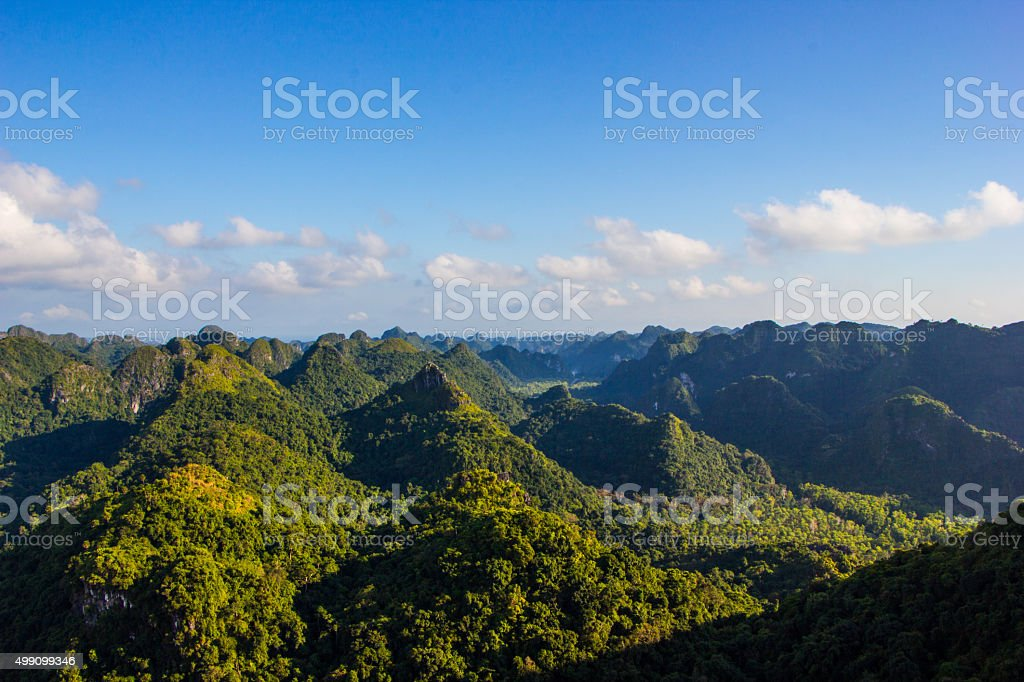 beautiful mountain landscape from the top. stock photo
