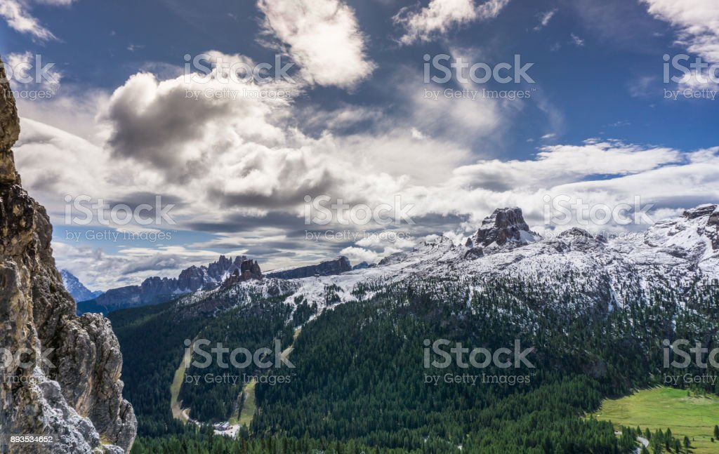 beautiful mountain landscape in the Italian Dolomites after a fresh snowfall stock photo