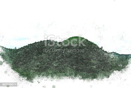 istock Beautiful mountain peak watercolor painting background. 953869574