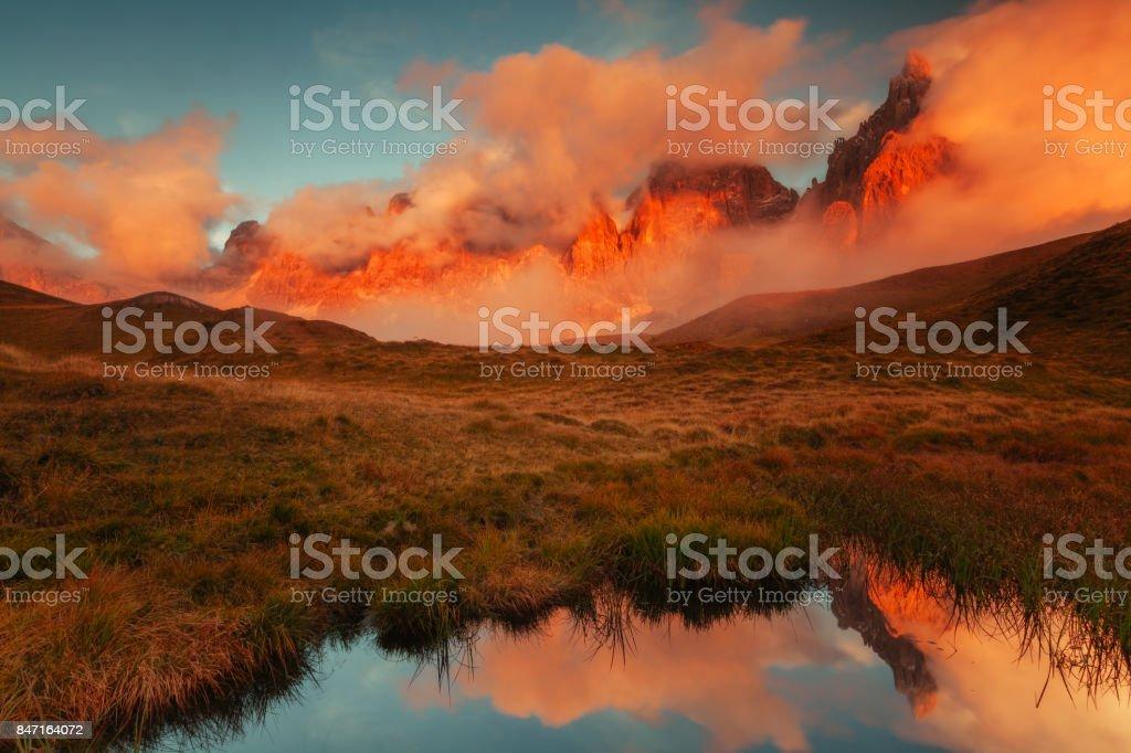 Beautiful mountain reflection in a mirror lake stock photo