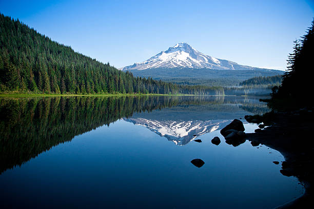 Beautiful Mountain Reflection in Lake Mt. Hood reflected in a lake. mt hood stock pictures, royalty-free photos & images