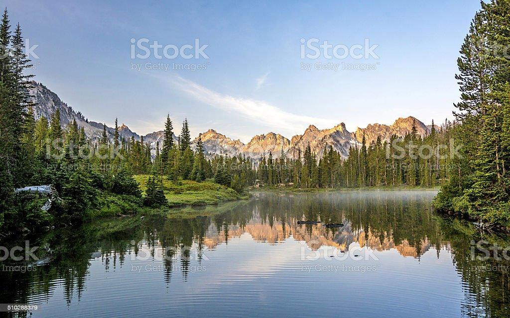 Beautiful mountain scene with a lake stock photo
