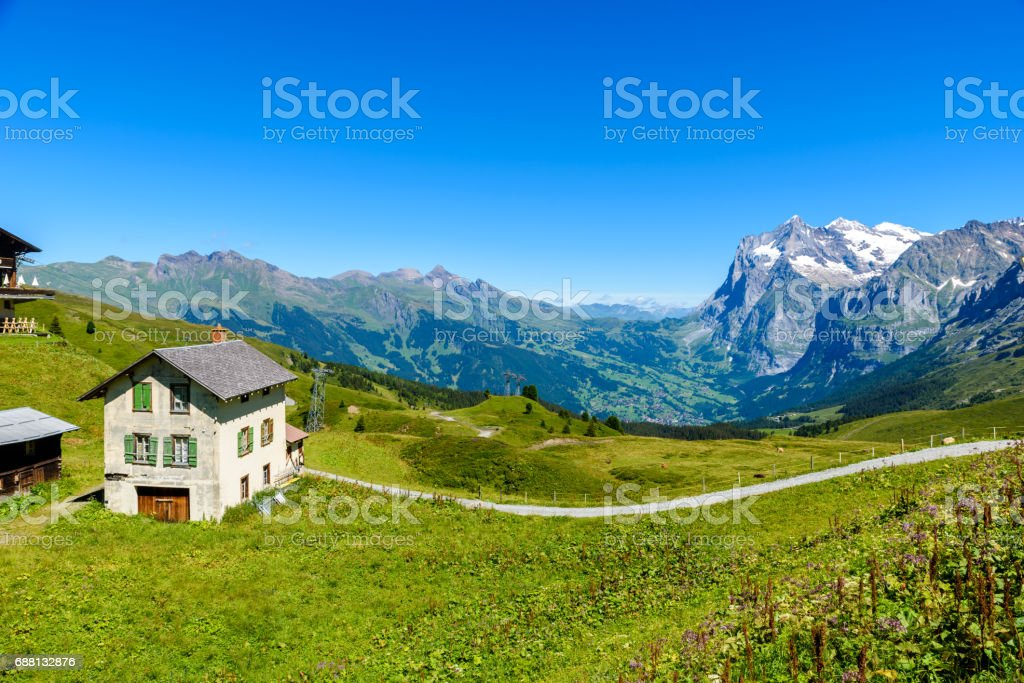 Beautiful mountain scenery at Grindelwald and Jungfrau - Switzerland stock photo