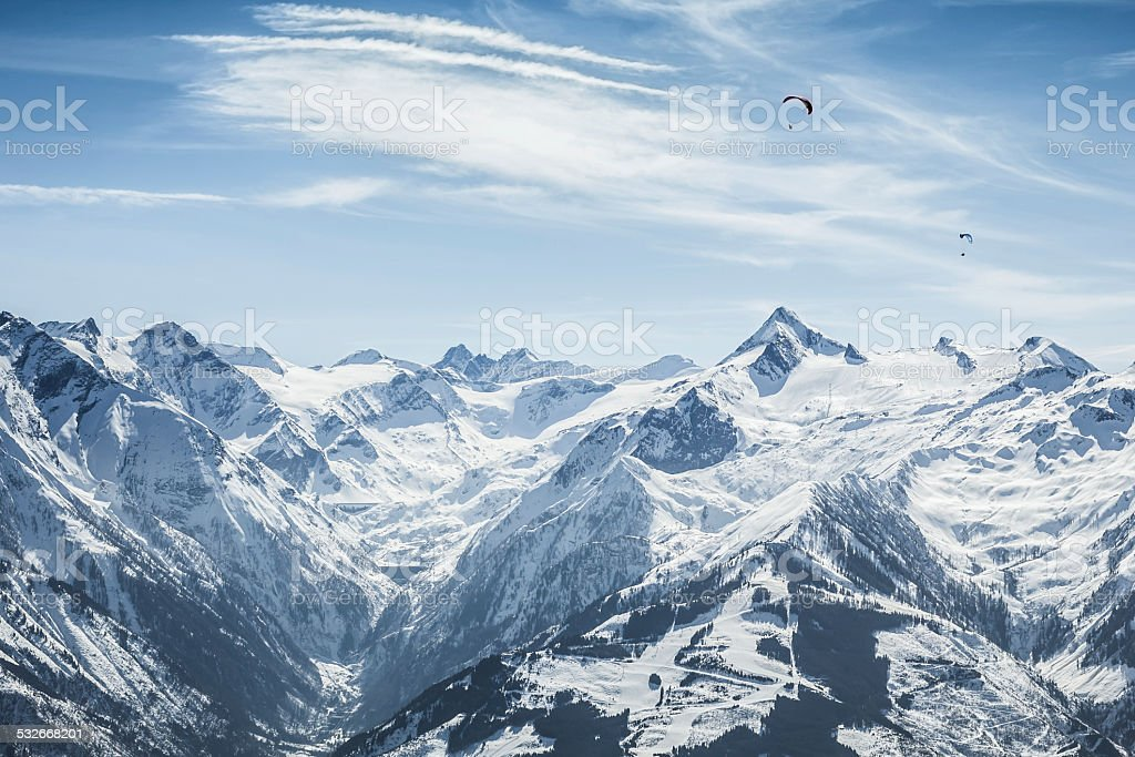Beautiful mountain ski slope with Kitzsteinhorn in the background stock photo