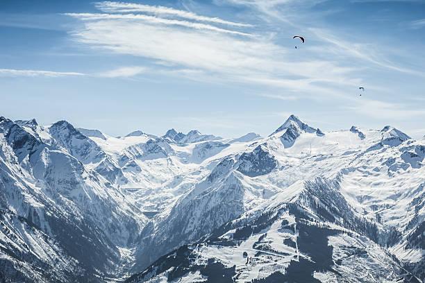 Beautiful mountain ski slope with Kitzsteinhorn in the background stock photo