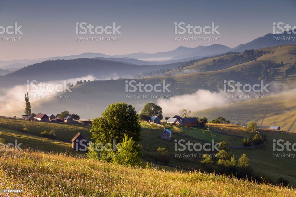 Beautiful mountain sunrise stock photo