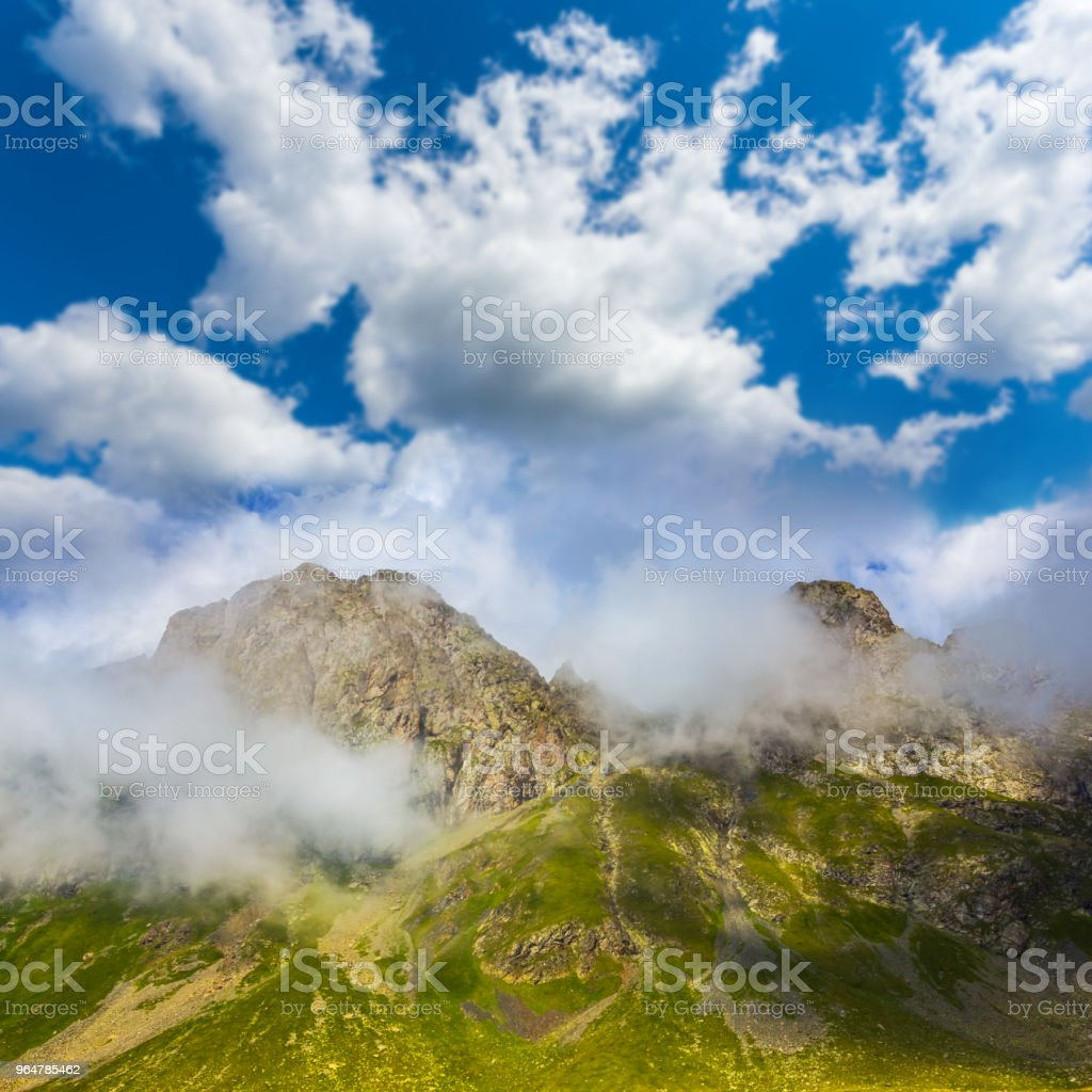 beautiful mountain valley and cloudy sky royalty-free stock photo