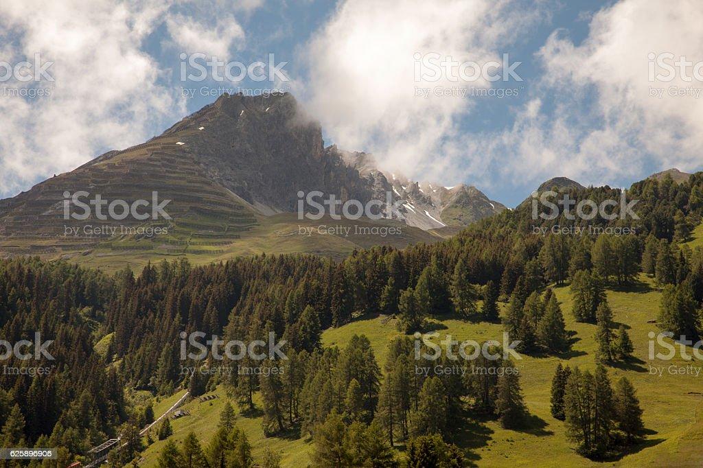 Beautiful mountain views from dowtown Davos, Switzerland stock photo