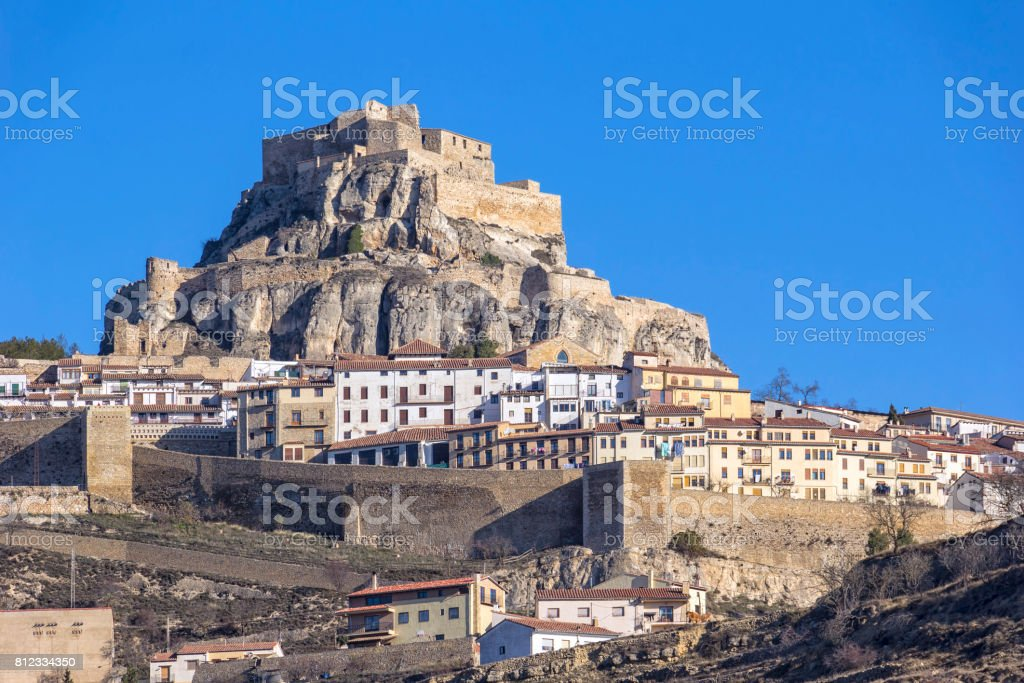 Beautiful mountain village Morella, Spain stock photo