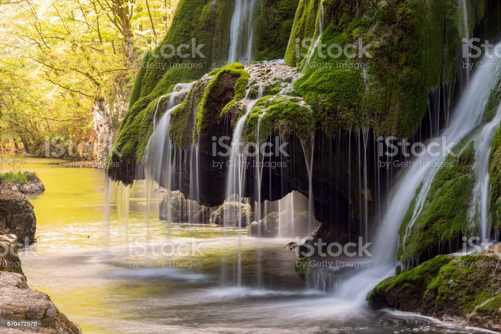 Beautiful mountain waterfall stock photo