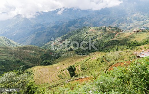 istock beautiful mountain with rice terraces and fog in morning 874742372