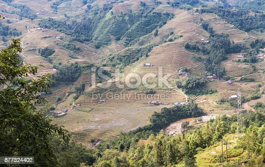istock beautiful mountain with rice terraces and fog in morning 877324402