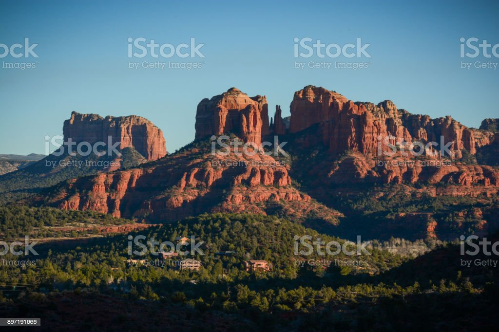 Beautiful Mountains of Sedona Cathedral Rock, tourist attraction near Sedona, in sunset glow Arizona Stock Photo