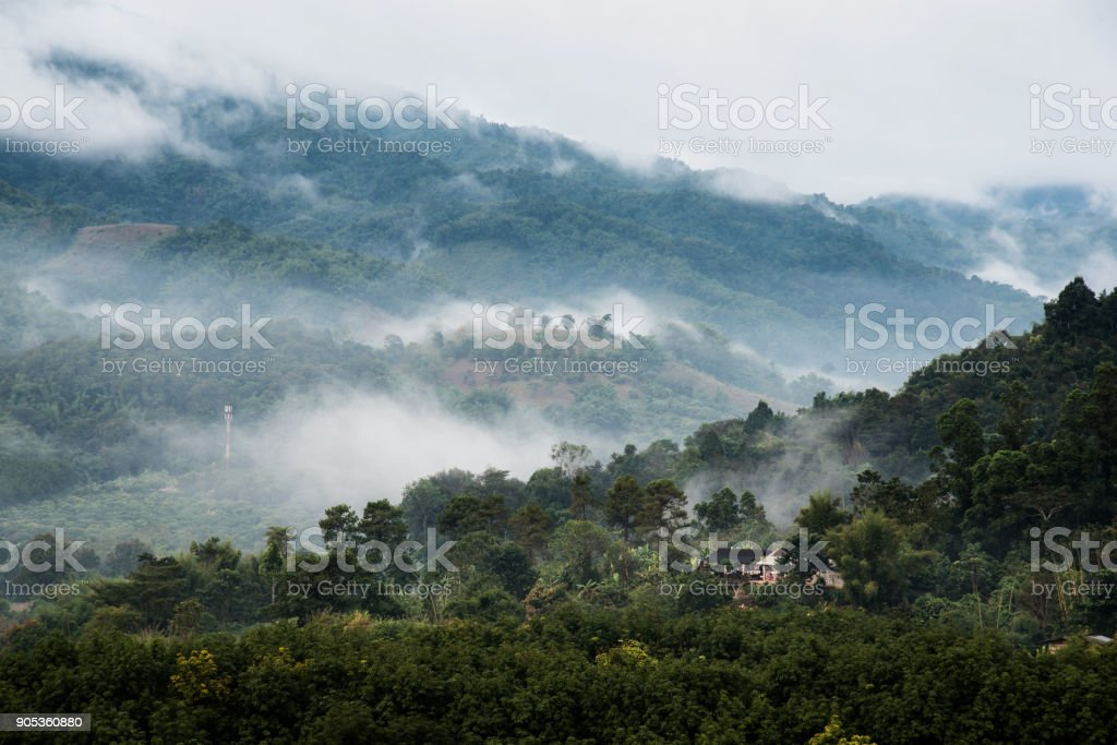 Beautiful mountains with clouds and fogs landscape on morning. stock photo