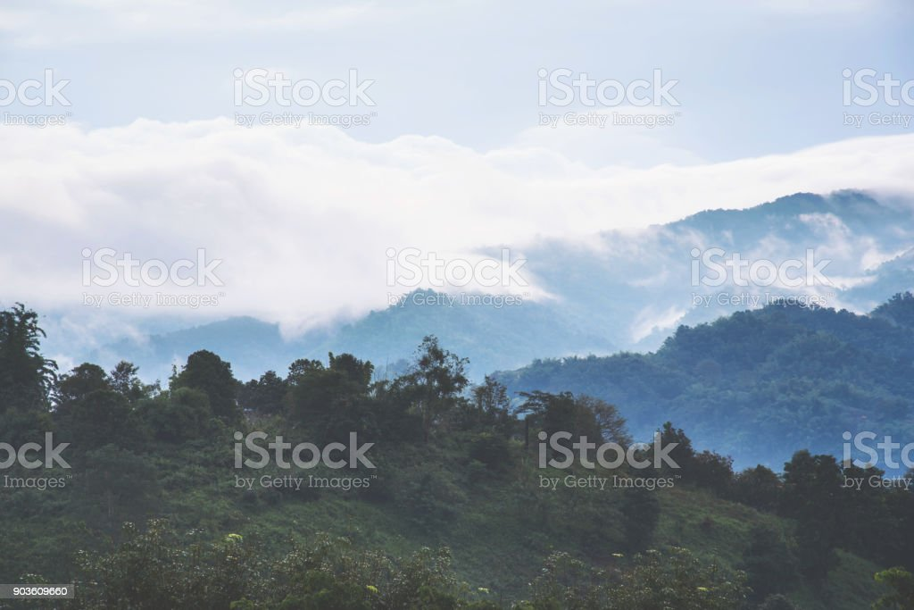 Beautiful mountains with clouds and fogs. stock photo