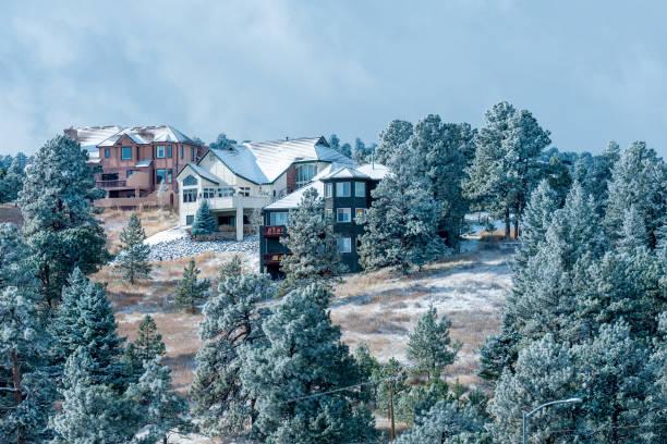 Beautiful mountainside houses stock photo