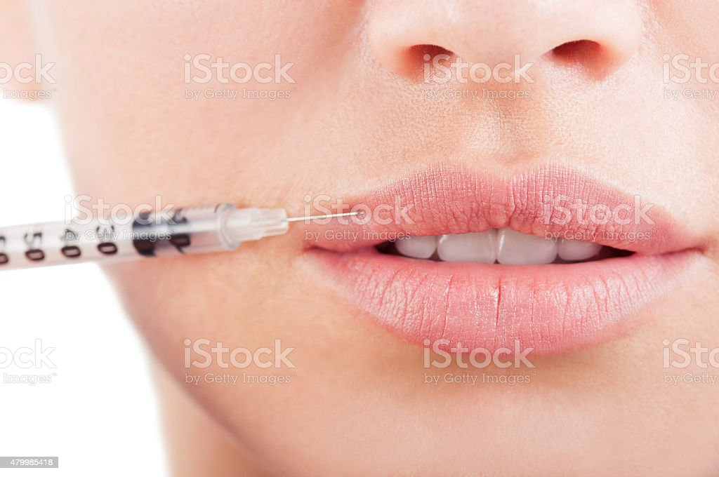 Beautiful mouth and lips with botox stock photo